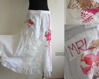 M/L Boho Chic Skirt Linen Skirt Romantic Skirt  Embroidered Skirt Medium Upcycled Shabby Chic Skirt Festival Skirt Patchwork Skirt