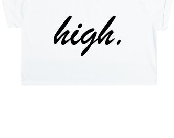 High Crop Top T Shirt Tee Womens Girl Funny Fun Tumblr Hipster Swag Grunge Kale Goth Punk New Retro Vtg Fashion Indie Boho Fcuk Drugs Rave