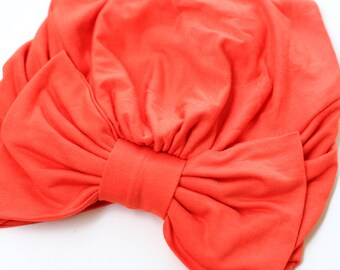 Turban with Bow - Orange Hair Wrap in Jersey Knit - Women's Fashion Head Covering - Lots of Colors