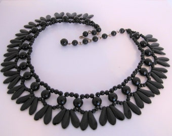 Antique Victorian Jet Mourning Necklace. English Black Vauxhall Glass Bead Collar Necklace. Victorian Fan Collarette Choker Circa 1860