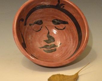 Große rote Buddha Gesicht Servier Schüssel in Raku-Keramik