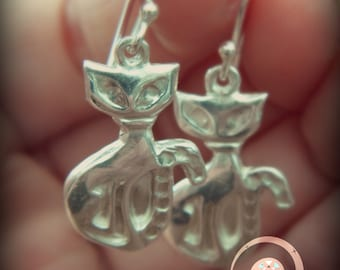 cats dangle earrings, fine silver cat earrings