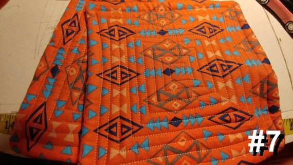 CHARITY (Orange aztek design HOT PAD set of 2 #7)