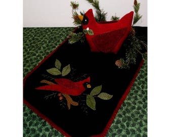 Wool Table Toppers-Winter Cardinal Quilt Pattern With JAB Buttons Included and Free Shipping