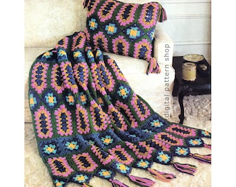 Crochet Afghan Pattern Vintage Jeweled Granny Square Afghan & Pillow Crochet Pattern Blanket Throw Cushion Instant Download PDF - C139