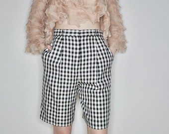 vtg 80s black and white gingham high waisted boy shorts size small