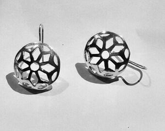Mandala earrings silver, ethnic earrings, boho jewelry