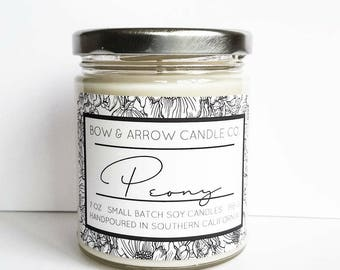 Peony Natural Soy Candle 7 oz | Eco-Friendly Candle | Soy Candle | Peony Candle | Spring Candle | Gift Idea | Floral Scented | Peony Flower