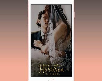 Wedding Geofilter, Gold Wedding Snapchat Geofilter, Wedding Snapchat Filter, Custom Gold Wedding Snapchat Filter, Mr. & Mrs. Snap Geofilter