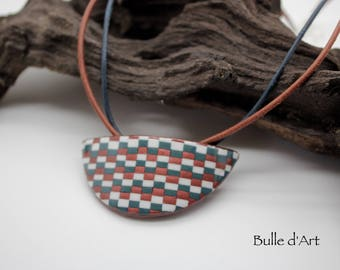 Necklace - collection bargello - polymer clay
