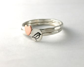 Bird Ring, Custom Stack Rings, Sterling Silver Bird Ring, Heart Stack Ring, Silver Stack Rings, Set of 2