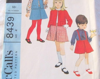 vintage McCALLS 8439 sewing pattern-- Girl's Jacket or Vest, Blouse, and Skirt with Suspenders (size 4)--1966