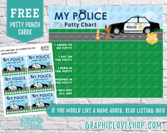 Printable Police Officer Potty Training Chart, FREE Punch Cards | High Resolution JPG File, Instant Download, Files are NOT Editable