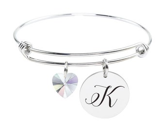 Initial Bangle made with Crystals from Swarovski - K - SWABANGLE-GLD-AB-K - Silver