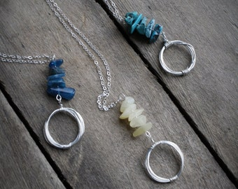 NECKLACE:  Sterling Silver, Semi Precious Gemstone, Handcrafted, Artisan Quality.