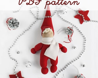 DIY Christmas gnome pattern - Rag doll sewing design - Waldorf gnome tutorial - DIY child gift - Cloth doll making - Do it yourself doll