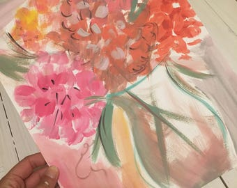Home decor/ Abstract painted Hydrangea