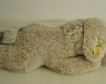 lovely vintage 70s Steiff Plush sleeping bunny rabbit with button and tag