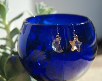 Moon & Star Swarovski crystal earrings
