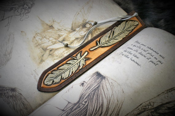 Leather bookmark, embossing leather, carved leather, feather bookmark, gift for reader