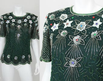 Vintage Sequin Blouse Green Colorful Size Medium Top Shirt