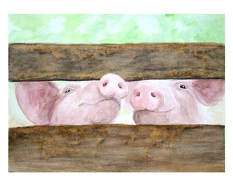 PIG FENCE PRINT- piglet, pig nursery, Pig Print, Pig painting, Farm art, Farm painting, Farm animal prints, Pig art, Farm animals, Pig decor