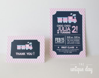 Train Invitation - Printed - Printable - Train Birthday Party - Girl Birthday - First Birthday // TRAG -01