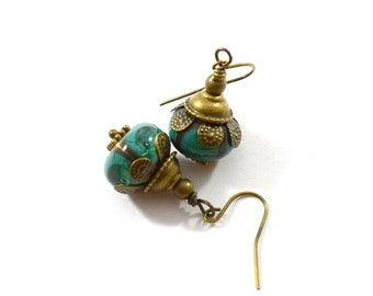 Turquoise Lampwork Earrings, Brass Earrings, Turquoise Earrings, Lampwork Earrings, Antique Brass Earrings, Boho Earrings, AE234