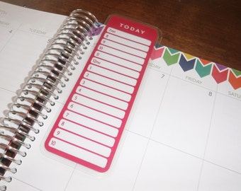 Today Dashboard, Coil Clip In, Laminated, Double Sided  / Filofax Personal Size, Erin Condren Life Planner, Limelife, Plum Paper
