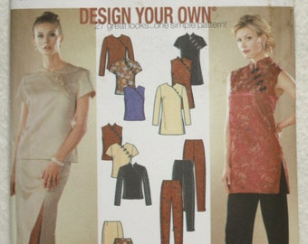 size HH (6-8-10-12) Simplicity Sewing Pattern 9868 Design Your Own Skirt,  Slim Pants, Top, Tunic  Cheongsam or Qipao style