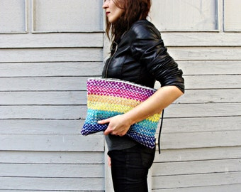 Rainbow Stripes Knitted Clutch