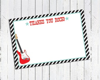 Rockstar Thank You Note Cards - Red, Mint, Black & White - INSTANT DOWNLOAD