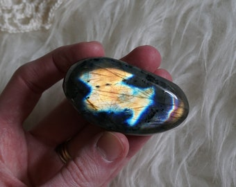 Natural Polished Labradorite Slab Free Form Crystal Specimen Home Decor Rock Stone Minerals Gemstones