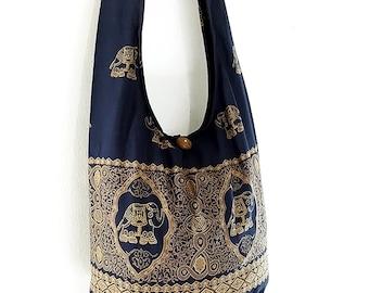 Women bag Cotton bag Elephant bag Hippie bag Hobo bag Boho bag Shoulder bag Sling bag Messenger bag Tote Crossbody bag Purse Navy Blue