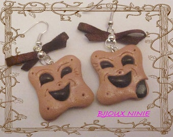 Earrings biscuit bn * chocolate Fimo