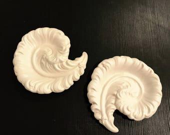Vintage Set of 2 Royal Haeger Pottery #277 White Matte Swirl Dishes