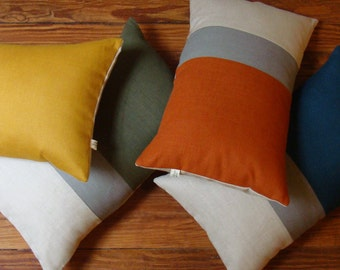 Colorblock Pillow Cover in Stone Grey & Natural Linen Stripes by JillianReneDecor - Custom Colors - FW2015