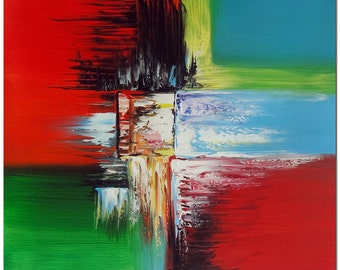 Colorful Expression - Hand Painted Modern Abstract Oil Painting On Canvas