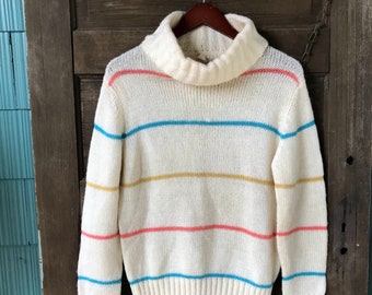 Vintage 80's White Striped Soft Acrylic Turtleneck Sweater by Catalina size Extra Large