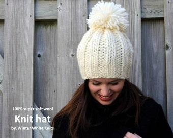 Knit pom pom hat, beanie hat with pom pom, 100% soft wool hat, knit hat, handknit pom pom hat, winter slouchy hat, soft and cozy