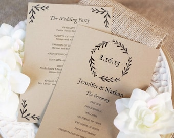SALE Wedding Program Template Editable Wedding Programs - 5x7 wedding program template