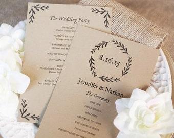 SALE Wedding Program Template Editable Wedding Programs - 5x7 wedding program template
