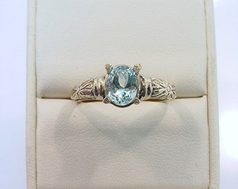 Antiqued Floral 14K gold ring with 8x6mm 1.40 Carat Natural Aquamarine 0348
