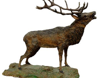 large rustic papier maché stag sculpture