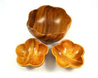 Mid Century Monkey Pod Wood Bowl Set