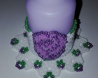Candle Holder Purple Flower