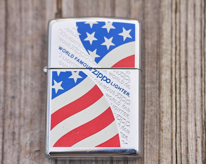 American Flag Zippo with World Famous Zippo marking rare unfired