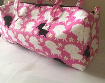 Luxury Knitting Bag Craft Bag Gift Hobby Sewing - Soft Pink Sheep Design