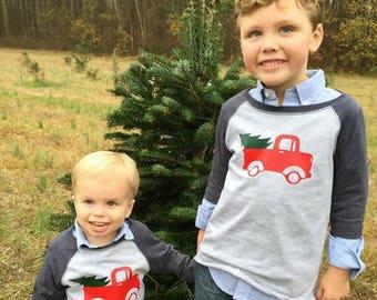 Vintage Christmas Truck Raglan T-Shirt for Boys, Holiday Shirts for Boys, Toddler Christmas Shirts, Shirts with Trucks, Pickup Truck Shirt