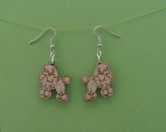 French Poodle earrings, wood engraved,